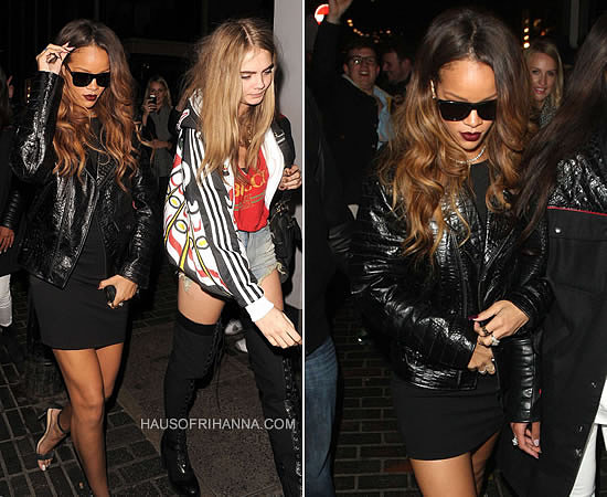 Rihanna in Trapstar croc embossed leather concept jacket and Rihanna for River Island black mini dress