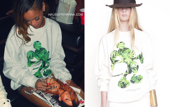 Rihanna in DimePiece Designs Happiest Place On Earth Mickey Mouse weed print sweatshirt