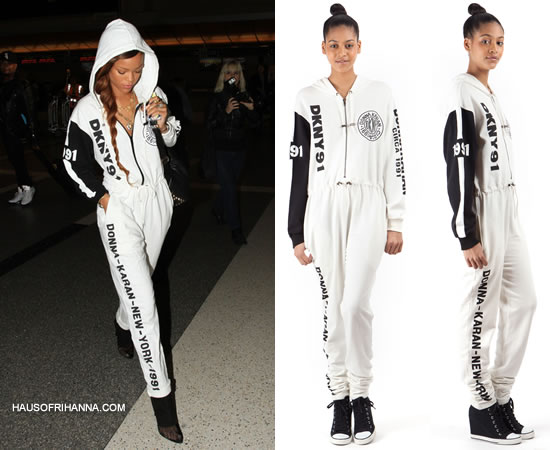 Rihanna in DKNY for Opening Ceremony Spring 91 jumpsuit and Alexander Wang boots