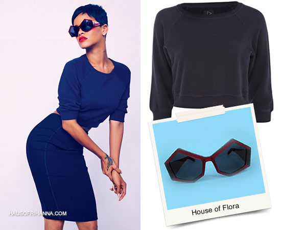 Rihanna in Elle UK April 2013 wearing Rihanna for River Island cropped sweater, Tom Ford skirt and House of Flora sunglasses