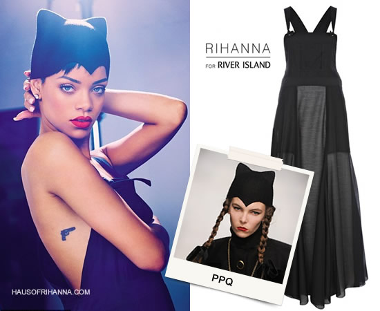 Rihanna in Elle UK April 2013 wearing Rihanna for River Island overall dress and PPQ by House of Flora cats headpiece