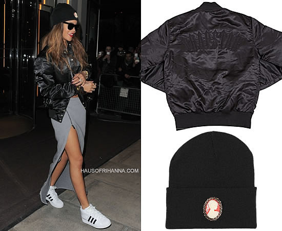 Rihanna in Trapstar Irongate stadium jacket, adidas Pro Model sneakers, Rihanna for River Island grey maxi skirt and Silver Spoon Attire vintage cameo beanie hat