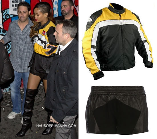 Rihanna in customised Xelement motorcycle jacket, Faith Connexion leather shorts and Tom Ford over-the-knee boots