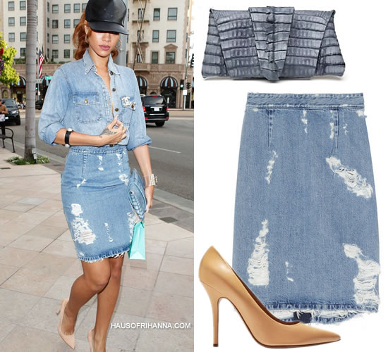 Rihanna in Current/Elliott the Perfect denim shirt, Acne fine trash distressed denim skirt, Celine nude pumps, Juliette Jake wrap around crocodile clutch, Chanel brooches