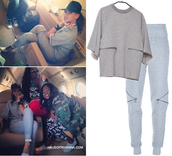 Rihanna in Ann-Sofie Back zip knee sweatpants and zip sweatshirt