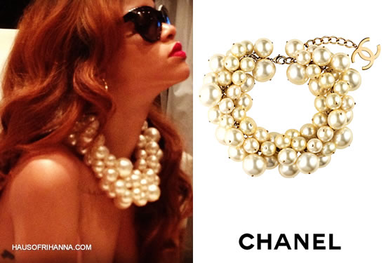 Rihanna in Chanel Spring/Summer 2013 pearl necklace