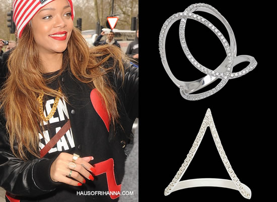 Rihanna in Djula V ring and Circle ring