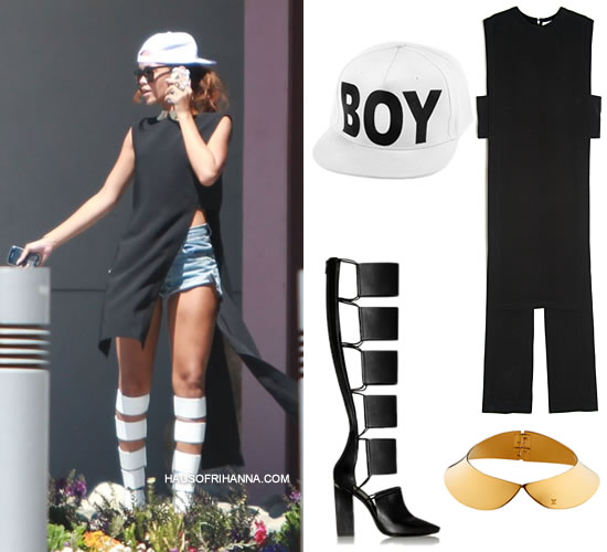 Rihanna in Givenchy tail back top, Boy London white cap, Louis Vuitton metal collar necklace, Alexander Wang Marta boots, Karen Walker Super Duper Strength sunglasses