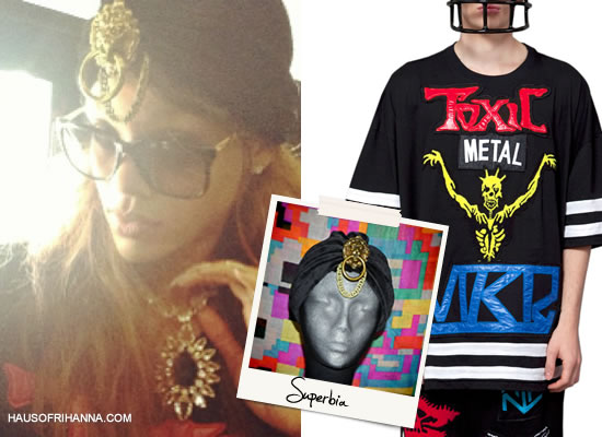 Rihanna in Kokon To Zai toxic embroidery t-shirt and Superbia lion turban