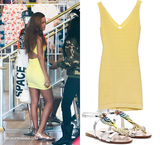 Rihanna in Whitney Eve yellow cutout dress, Miu Miu parrot metallic sandals, Prada Dixie deluxe sunglasses and Prada Saffiano Lux tote