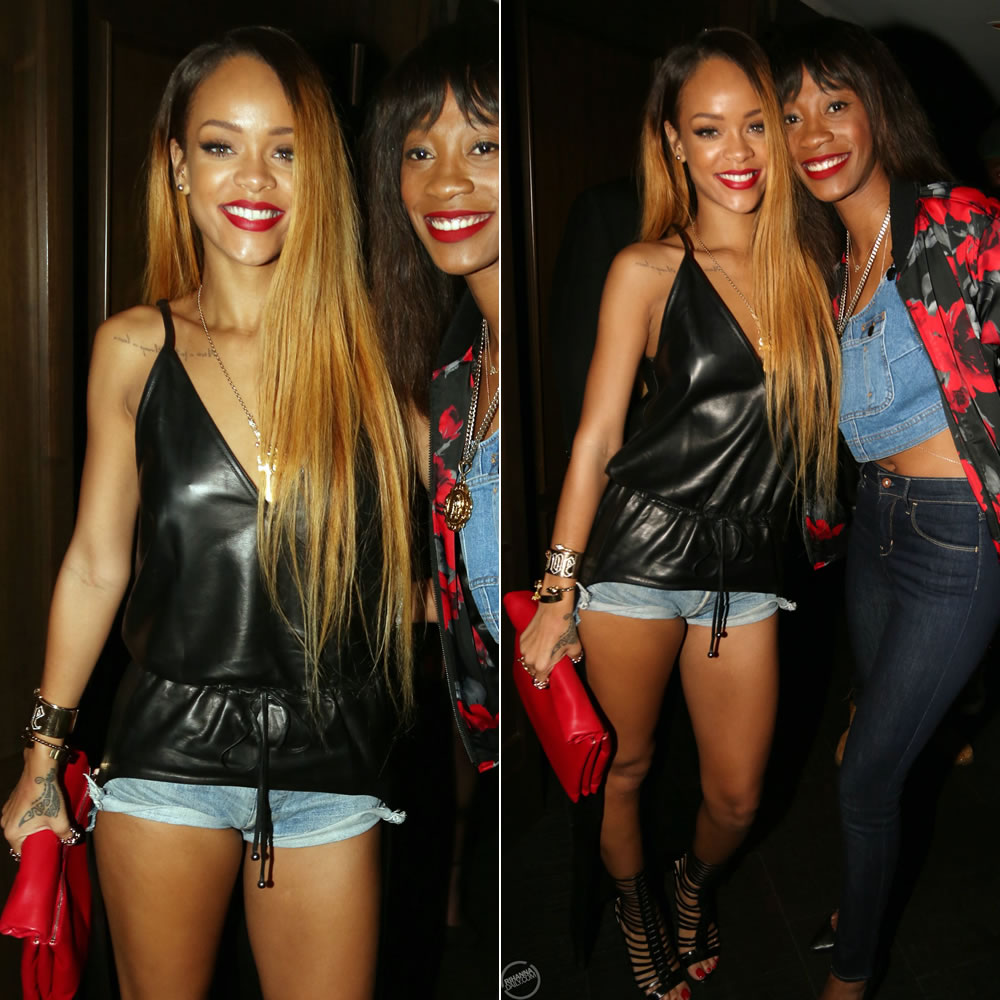 Rihanna in Givenchy drawstring leather tunic and Brian Atwood Isabeli strappy booties and Jennifer Fisher Jewelry cuffs and rings