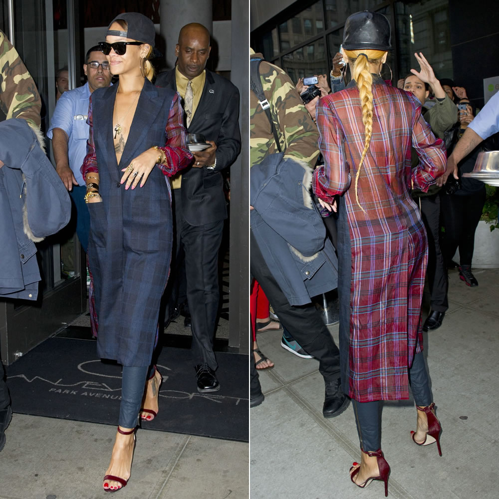 Rihanna in Dries Van Noten Spring/Summer 2013 plaid coat, Jennifer Fisher Jewelry cuffs and rings and charms and Ray-Ban Wayfarer sunglasses, Manolo Blahnik Chaos sandals