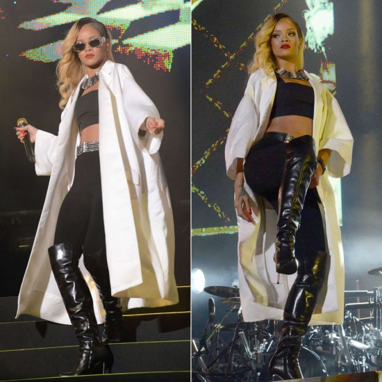 Rihanna performain at Mawazine festival in Morocco wearing Miu Miu oversized coat, Gianvito Rossi knee-high boots and vintage Versace sunglasses, Lanvin Dedale jewelry
