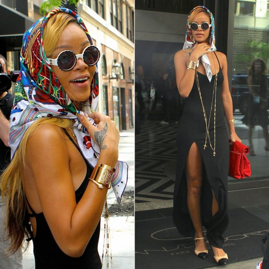 Rihanna in Hermes scarf, Rihanna for River Island maxi dress, Chanel two-tone flats, Chanel vintage white round sunglasses, Jennifer Fisher cuffs