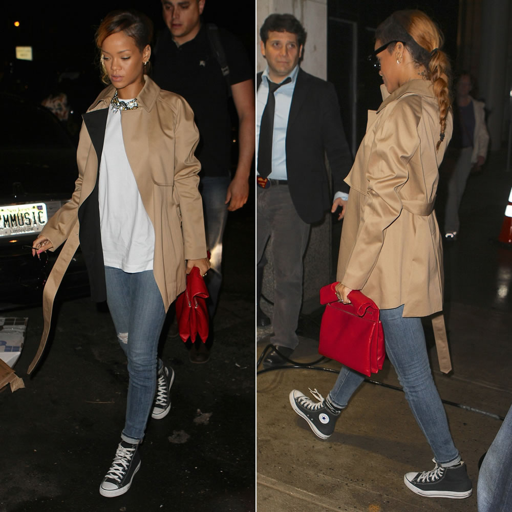 Rihanna in J Brand distressed skinny jeans, Converse high top sneakers, Celine Spring/Summer 2013 clutch, Ray-Ban wayfarer sunglasses