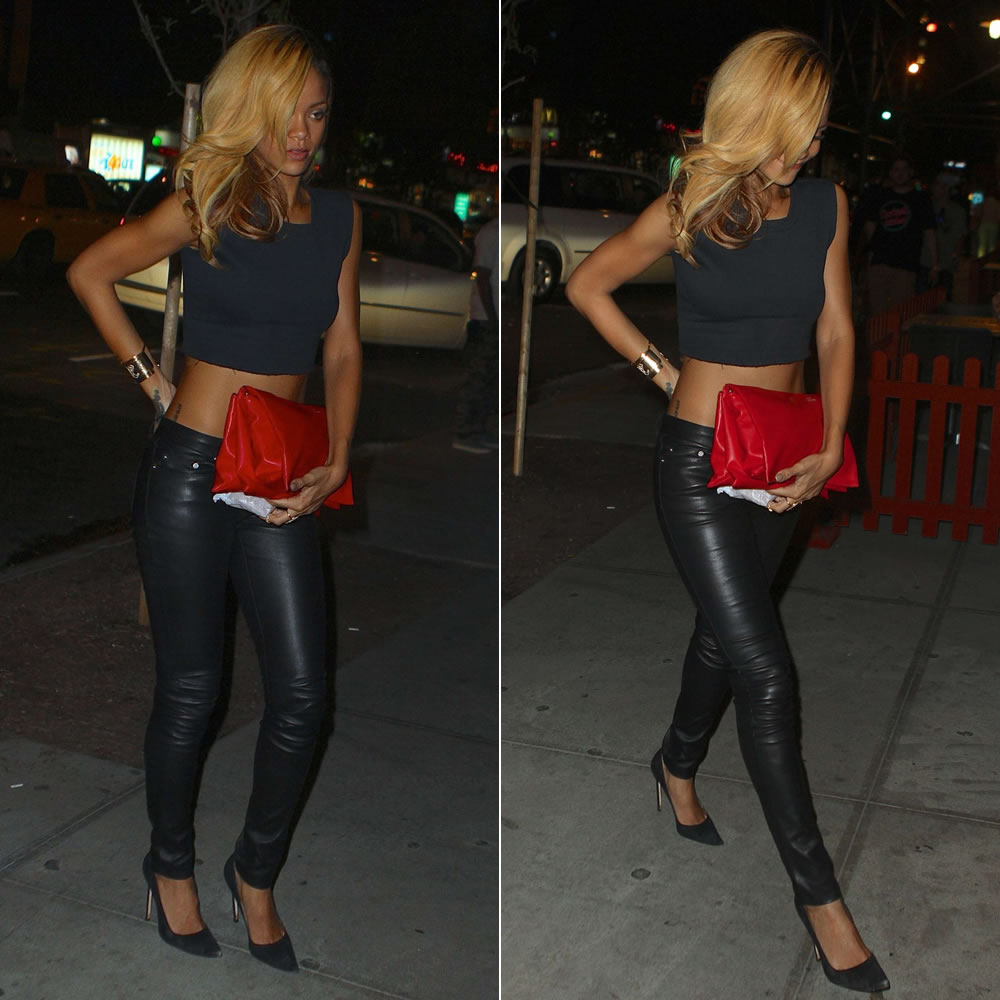 Rihanna in Reformation Macho cropped top, Saint Laurent leather skinny pants, Manolo Blahnik suede BB pumps, Celine rolled trio clutch