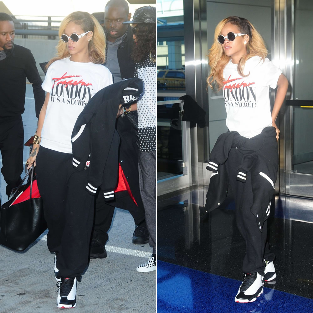 Rihanna in Trapstar London it's a secret t-shirt, Nike Air Jordan Retro 13 sneakers, Chanel vintage sunglasses, FUCT black patch sweatpants