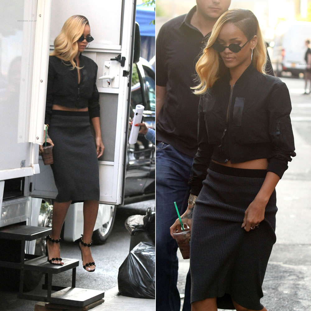Rihanna in Mykita by Alexandre Hercovitch cutaway sunglasses, Regulation by Yohji Yamamoto sheer back cropped jacket and Azzedine Alaia suede sandals