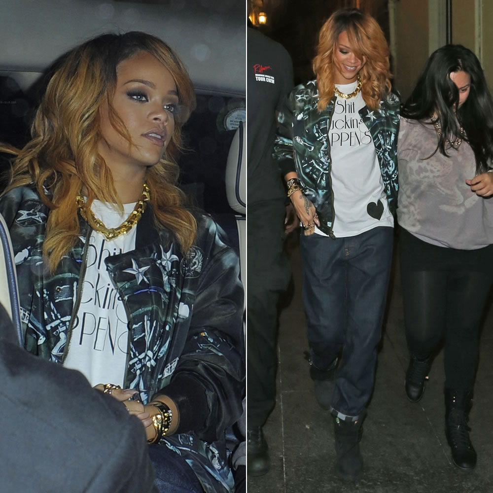 Rihanna in Givenchy airplane print bomber jacket, Marni striped cuff jeans, black Timberland boots, Jennifer Fisher Jewelry rings and cuffs
