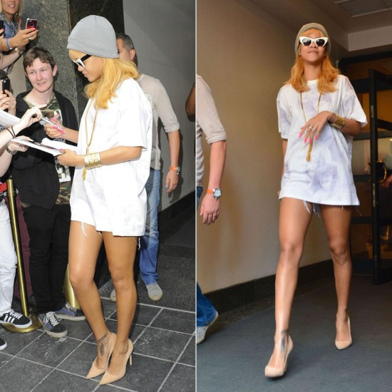 Rihanna in OriginalFake beanie, Givenchy Madonna and child t-shirt, Manolo Blahnik suede BB pumps, Miu Miu Rasoir cat-eye sunglasses