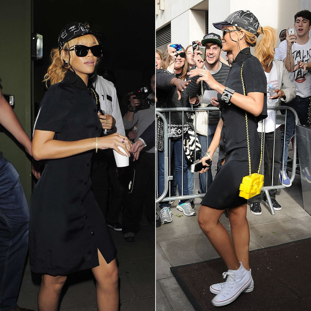 Rihanna in Elizabeth and James Valenti sunglasses, Chanel SS2013 handbag and cuff, Converse white high-top sneakers