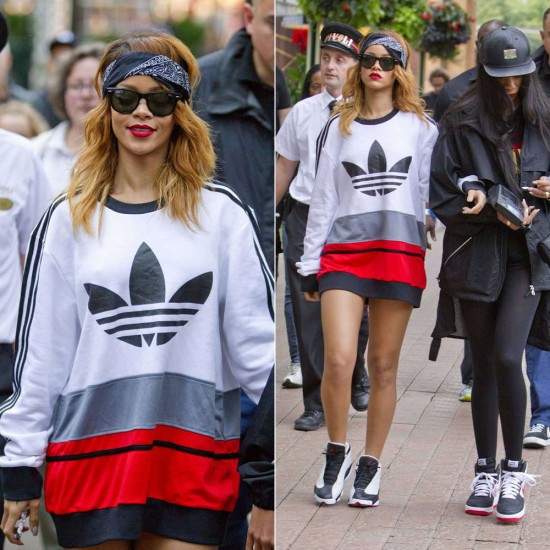 Rihanna in Adidas Originals C90 Art Fleece sweatshirt and Ray-Ban Wayfarer sunglasses, Nike Air Jordan Retro 13 sneakers
