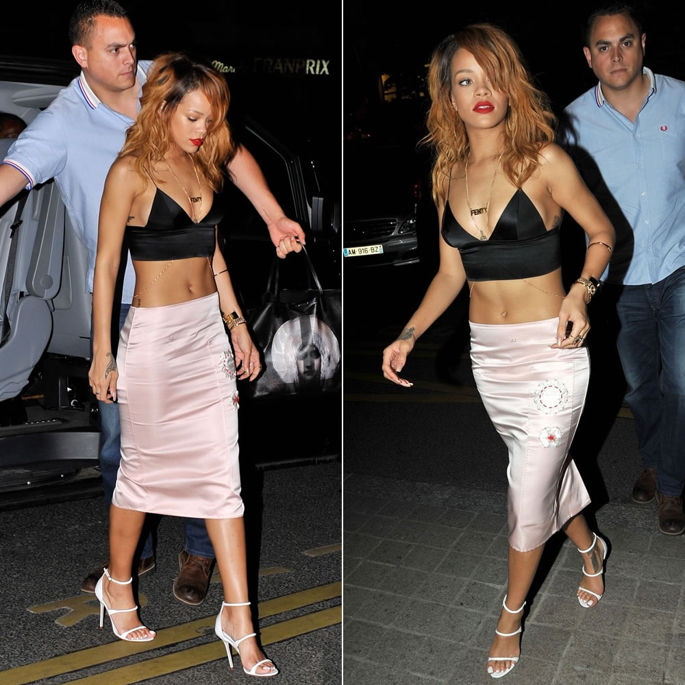 Rihanna in T by Alexander Wang bralette, Prada flower embroidered skirt, Manolo Blahnik Spring/Summer 2013 sandals