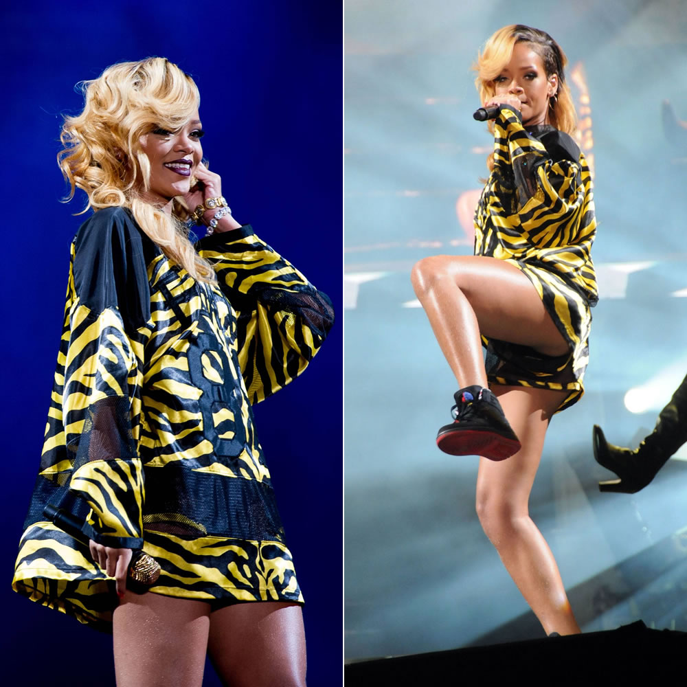 Rihanna at T in the Park festival in Scotland performing in custom Adam Selman striped outfit and Nike Air Jordan Retro 93 sneakers