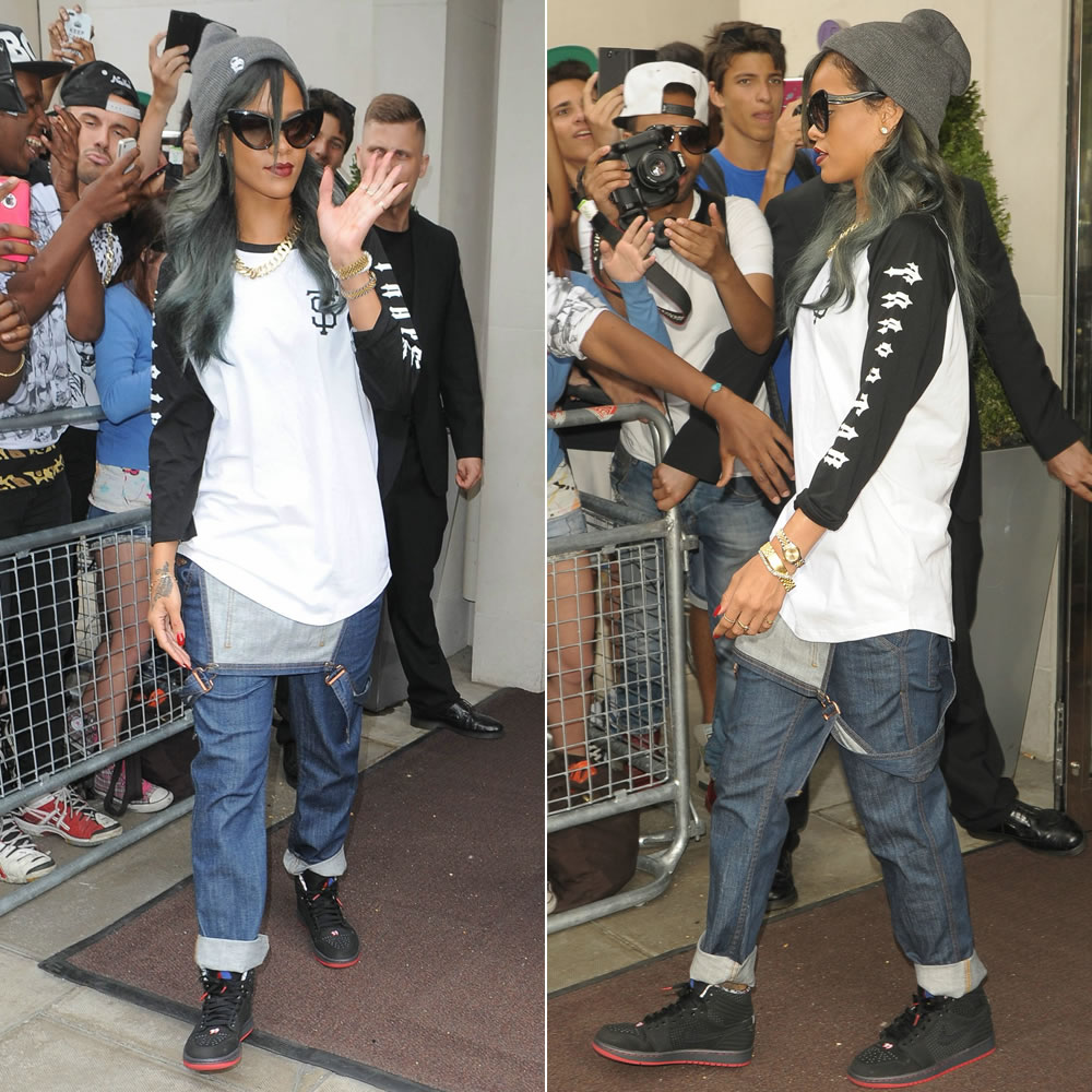 Rihanna in Trapstar black/white raglan shirt, Superbia grey S beanie, Roberto Cavalli cat-eye sunglasses, Air Jordan 1 Retro 93 sneakers,