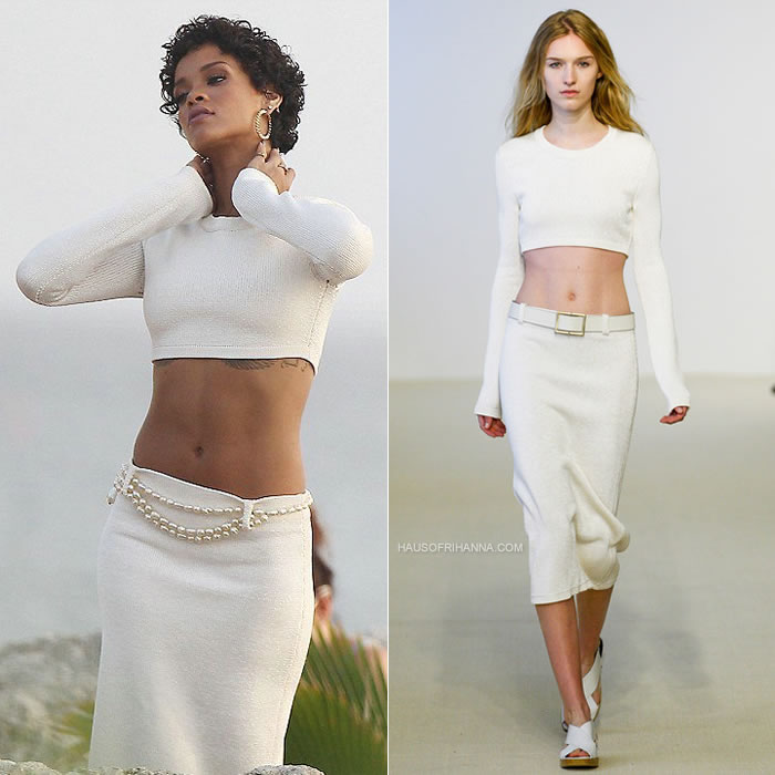 Rihanna at a photoshoot in Barbados wearing Calvin Klein Collection Resort 2014
