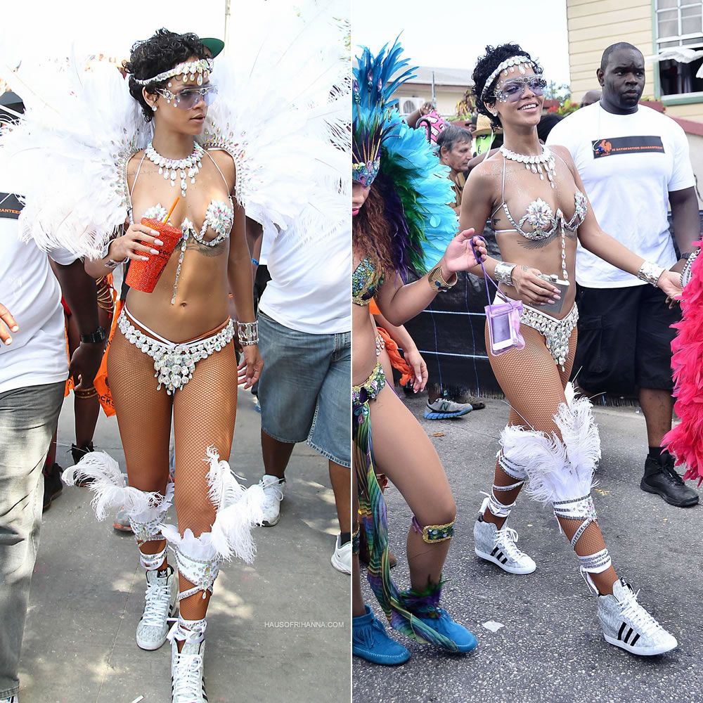 Rihanna at Barbados Kadooment Day Parade 2013 wearing Zulu International Legends costume