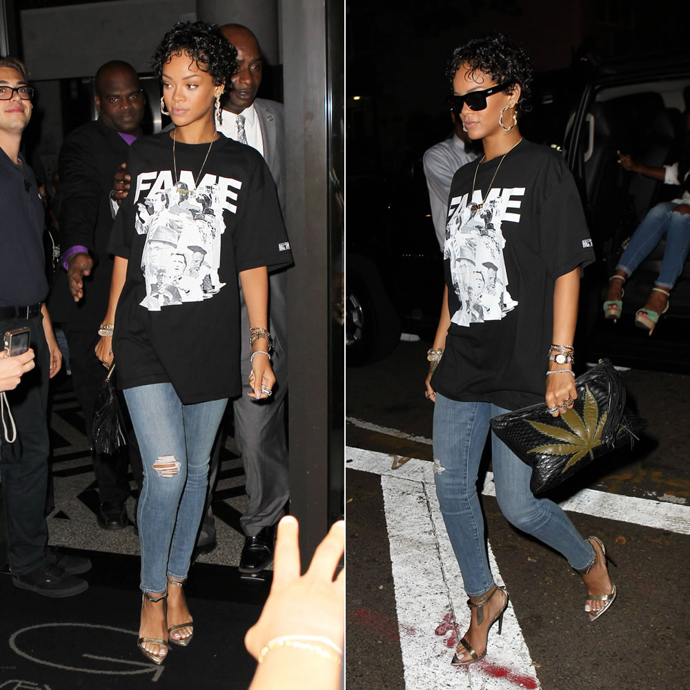 Rihanna in Frank 151 x Hall of Fame Chapter 51 Leaders t-shirt, Lynn Ban cross charm bracelets, vintage Versace bracelet, J Brand distressed skinny jeans, Roberto Cavalli python sandals, Le Specs bowie sunglasses