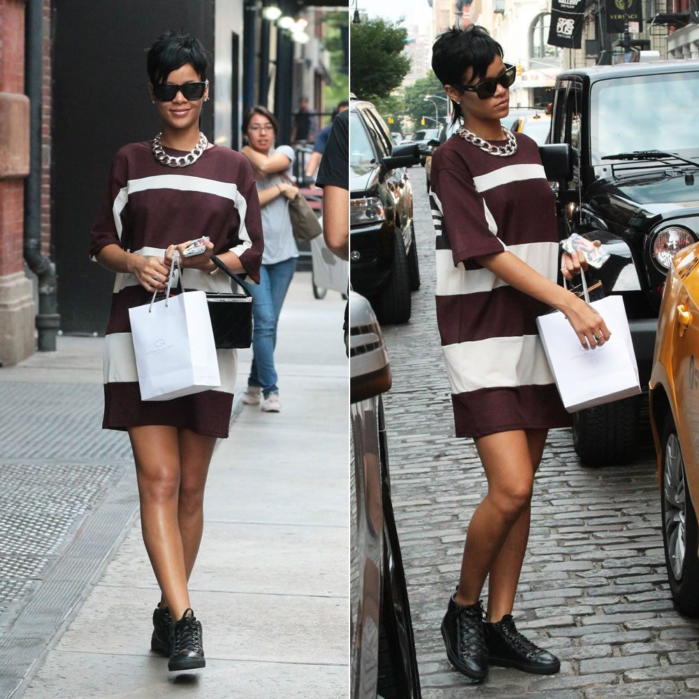 Rihanna wearing Rihanna for River Island G4Life oversized t-shirt and Balenciaga Arena high sneakers