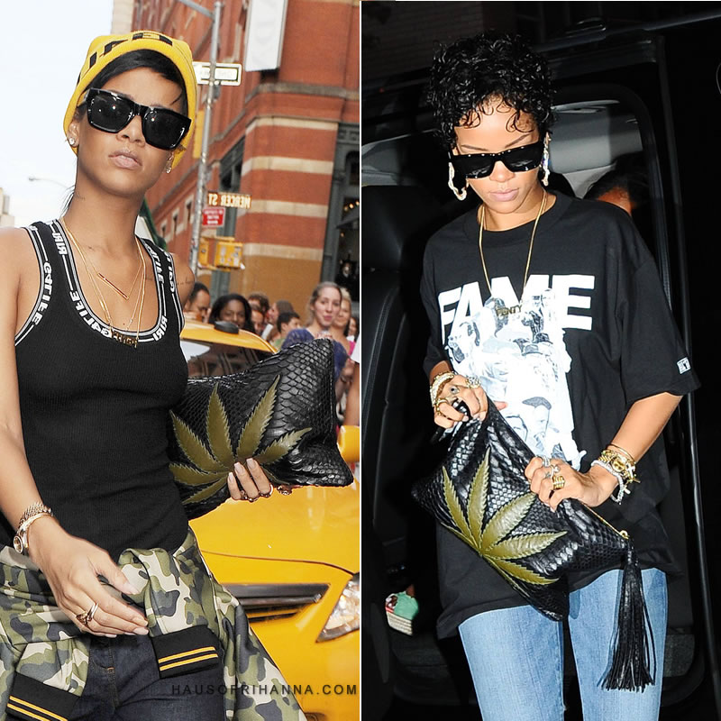 Rihanna carrying Jacquie Aiche's Sweet Leaf clutch