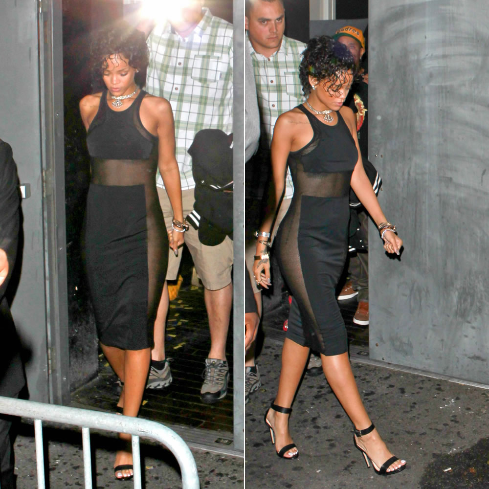 Rihanna in T by Alexander Wang Mesh Combo Midi Tank Dress and Rihanna for River Island barley there stiletto sandals