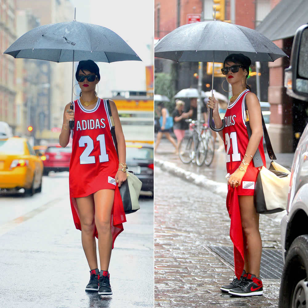 Rihanna wearing adidas Originals x Jeremy Scott red tail tank, Air Jordan 1 sneakers, Le Specs Bowie sunglasses, Chanel choker necklace, Jennifer Meyer lizard cuff