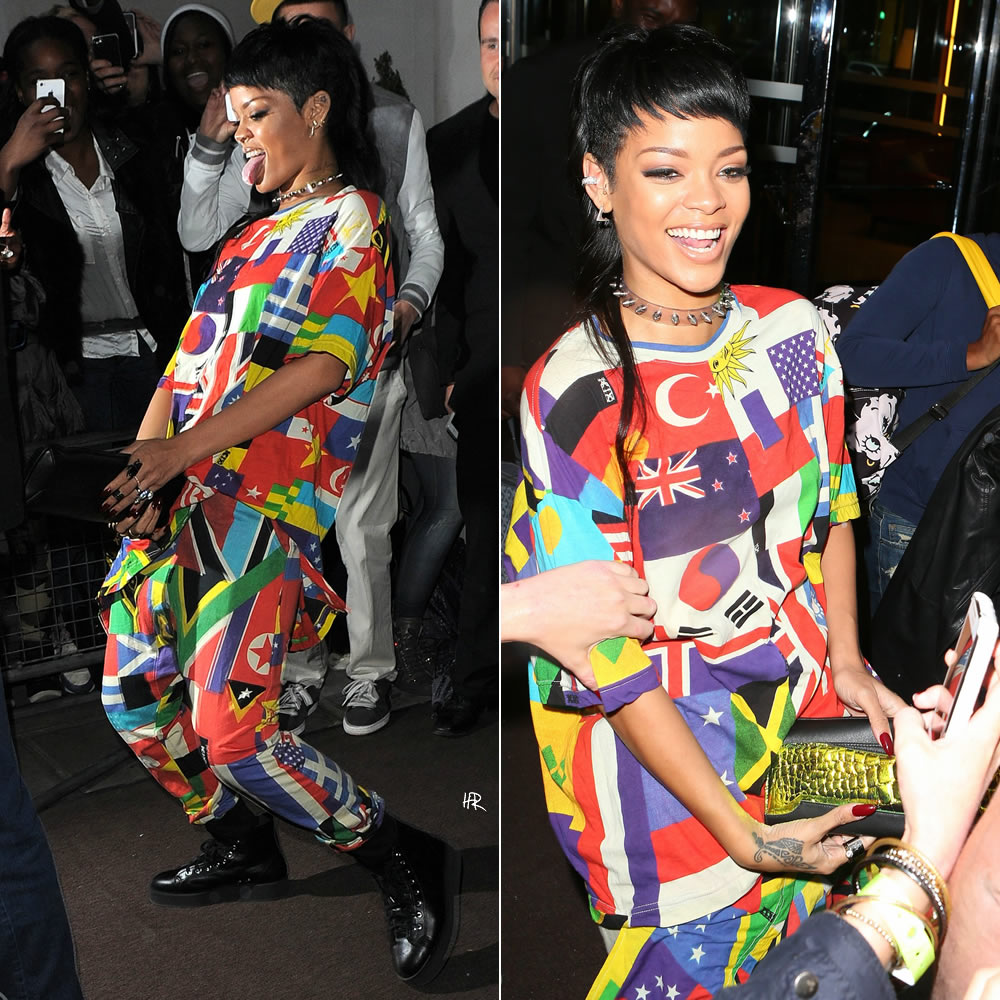 Rihanna in Kokon to Zai KTZ Spring/Summer 2014 menswear United World shirt and pants