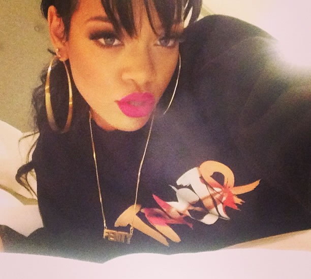 Rihanna in Trapstar Bite The Bullet sweatshirt