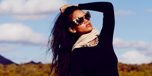 Rihanna in Roberto Cavalli cat eye leopard print sunglasses