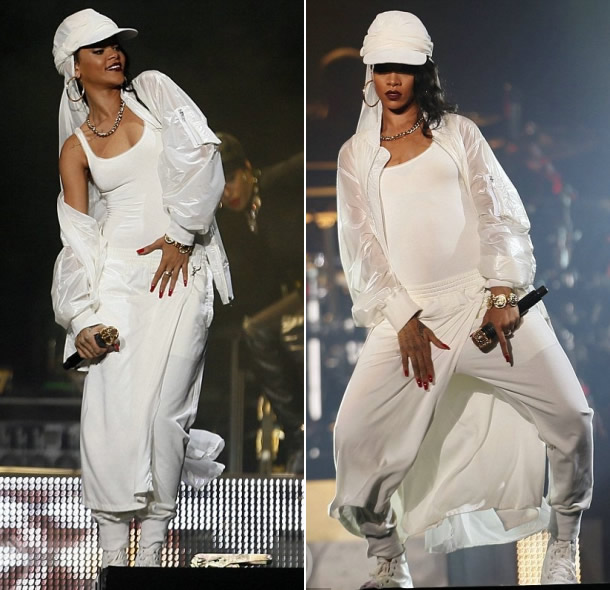 Rihanna performing in Abu Dhabi wearing KTZ Spring/Summer 2014, Comme des Garcons platform sneakers