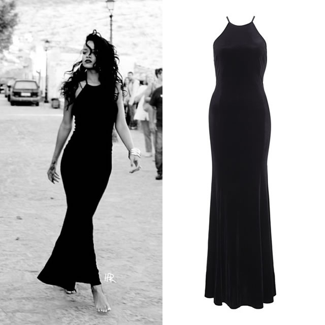 Rihanna wearing Rihanna for River Island velvet maxi dress