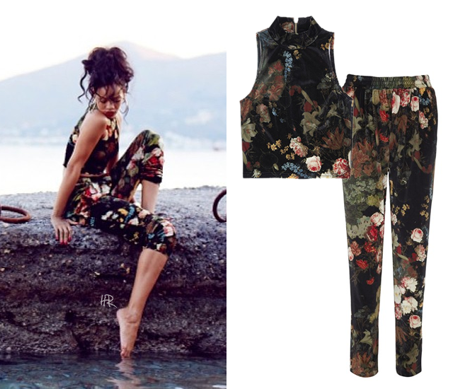 Rihanna wearing Rihanna for River Island floral velvet cropped top and tapered pants