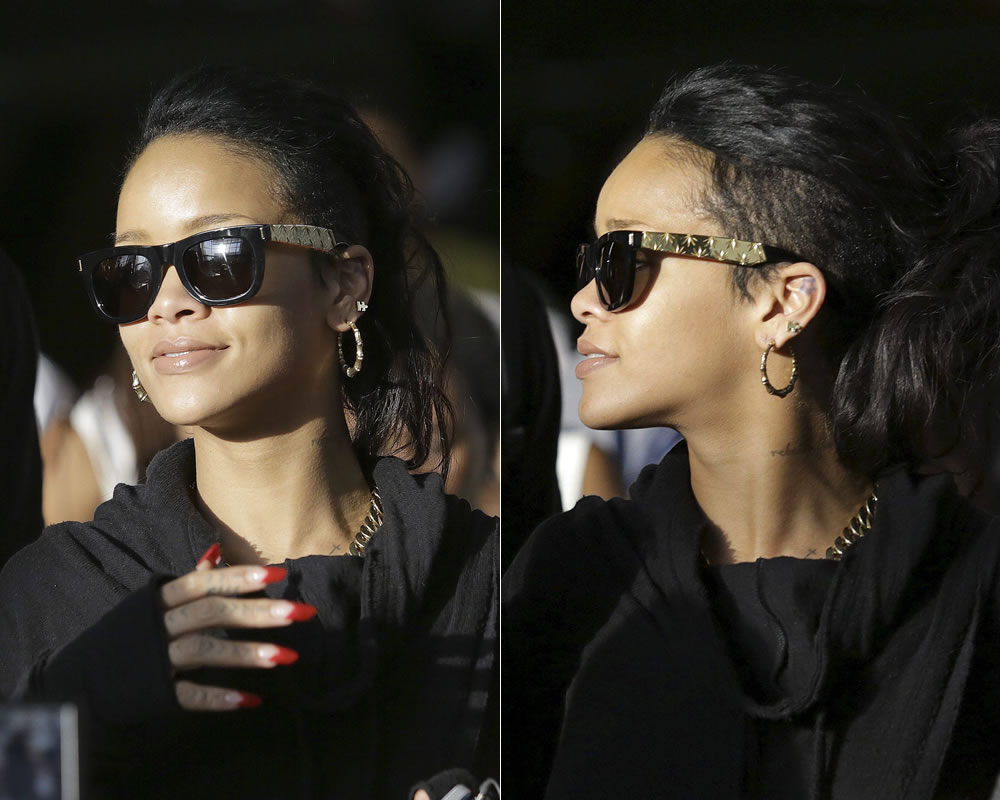Rihanna wearing Super Spring 2014 Ciccio Zoot Gold marijuana sunglasses