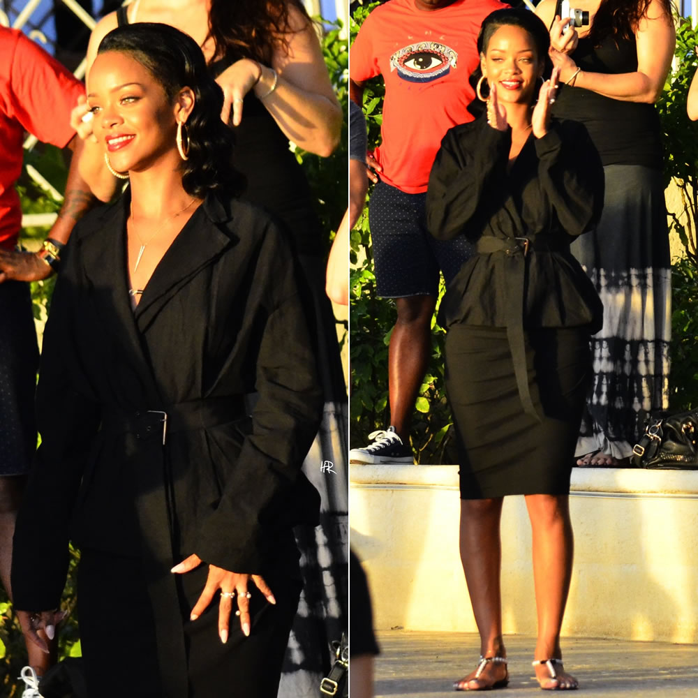 Rihanna at MAC Viva Glam event in Barbados wearing Lanvin dolman belted jacket and pencil skirt, Queen Vee stinger necklace, Rene Caovilla pearl sandals