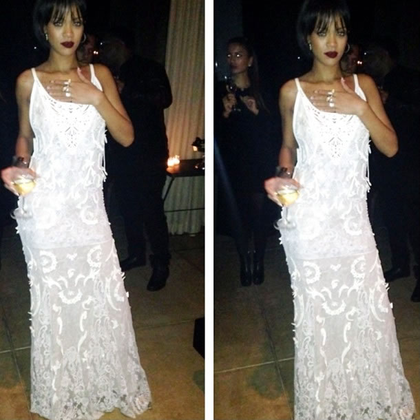 Rihanna in Roberto Cavalli Spring Summer 2013 white lace dress