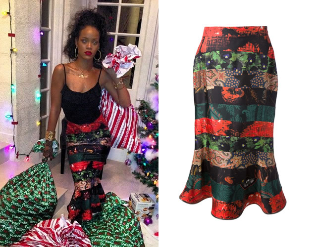 Rihanna in Givenchy printed fishtail skirt