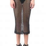 Rihanna for River Island black crochet midi skirt