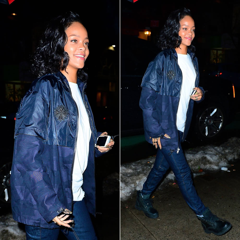 Rihanna wearing Roc Nation blue camo jacket, Rihanna for River Island cuffed boyfriend jeans, Timberland Earthkeepers rugged boots