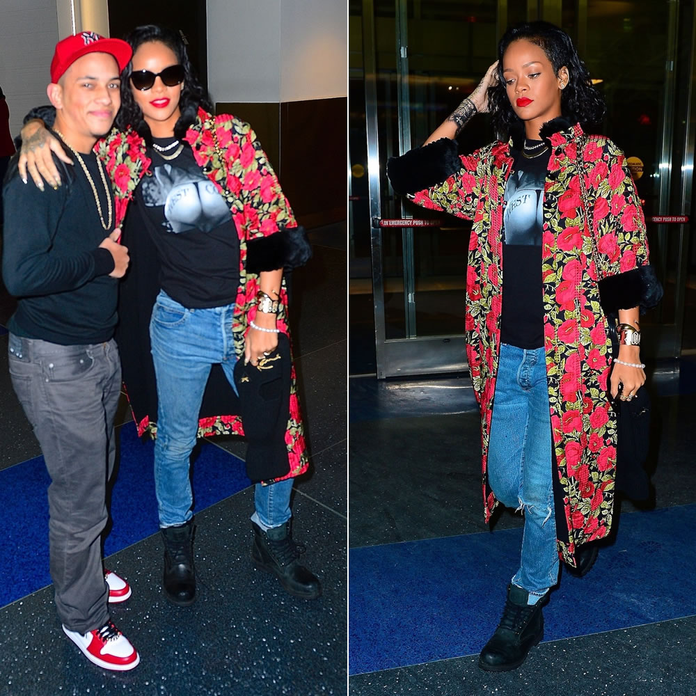 Rihanna wearing Estevan Oriol West Coast t-shirt, Balmain Homme distressed jeans, Timberland Earthkeepers boots