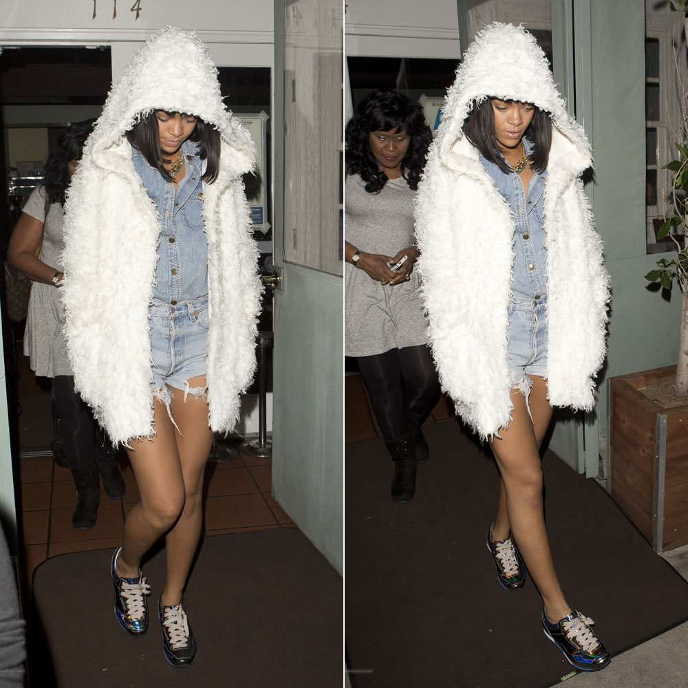 Rihanna wearing Current Elliott The Perfect denim shirt in Well Worn, cutoff shorts, Lanvin holographic gunmetal iridescent sneakers